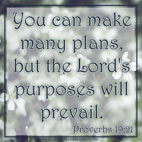 You can make many plans, but the Lord 's purposes will prevail. Proverbs 19:21