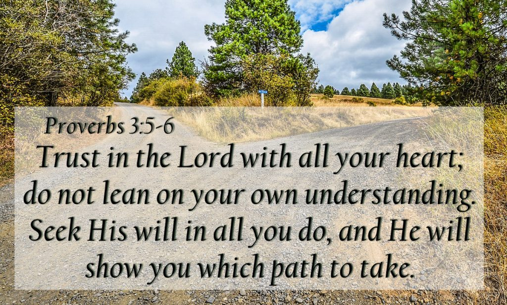 Trust in the Lord with all your heart; do not lean on your own understanding. Seek His will in all you do, and He will show you which path to take. Proverbs 3:5-6