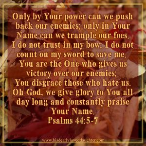 Only by Your power can we push back our enemies; only in Your Name can we trample our foes. I do not trust in my bow; I do not count on my sword to save me. You are the One who gives us victory over our enemies; You disgrace those who hate us. Oh God, we give glory to You all day long and constantly praise Your Name. Psalms 44:5-7 #Verses #Bible #Scripture #Psalms #WordOfGod #truth #HisDearlyLovedDaughter