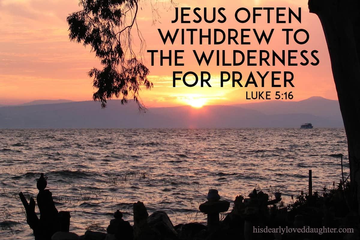 Jesus often withdrew to the wilderness for prayer. Luke 5:16