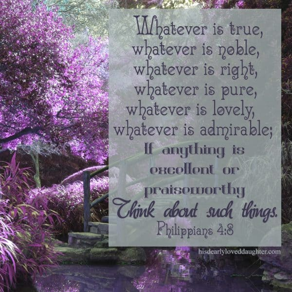 Whatever is true, whatever is noble, whatever is right, whatever is pure, whatever is lovely, whatever is admirable; if anything is excellent or praiseworthy, think about such things. Philippians 4:8