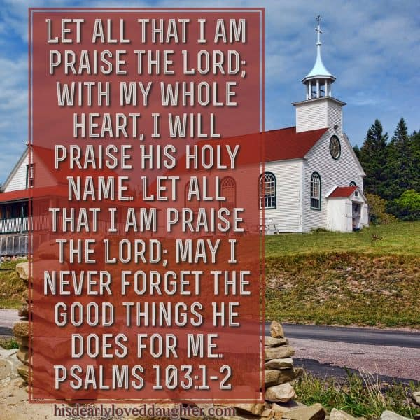 Let all that I am praise the Lord; with my whole heart, I will praise His holy Name. Let all that I am praise the Lord; May I never forget the good things He does for me. Psalms 103:1-2