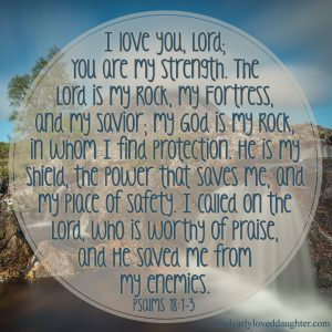 I love You, Lord; You are my strength. The Lord is my Rock, my Fortress, and my Savior; my God is my Rock, in whom I find protection. He is my shield, the power that saves me, and my place of safety. I called on the Lord, who is worthy of praise, and He saved me from my enemies. Psalms 18:1-3 #HisDearlyLovedDaughter #HopeForToday #verseoftheday #BibleStudy #WordOfGod #truth #Scripture #verses #bible