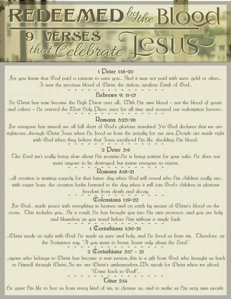 Redeemed by the Blood - 9 Verses that Celebrate Jesus free printable. #hisdearlyloveddaughter