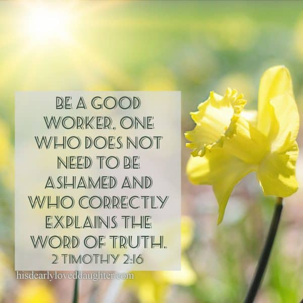 Be a good worker, one who does not need to be ashamed and who correctly explains the Word of Truth. 2 Timothy 2:16
