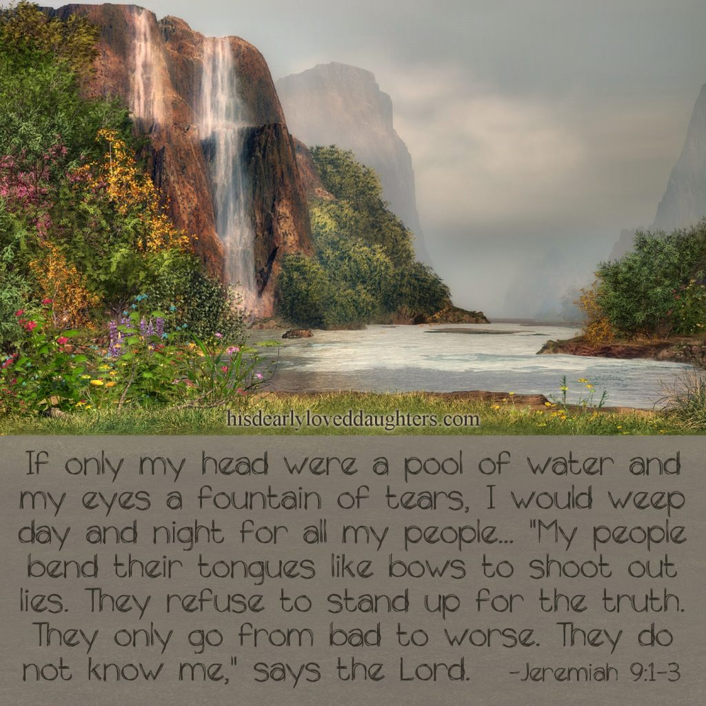 "If only my head were a pool of water and my eyes a fountain of tears, I would weep day and night for all my people... ""My people bend their tongues like bows to shoot out lies. They refuse to stand up for the truth. They only go from bad to worse. They do not know me,"" says the Lord. Jeremiah 9:1-3 #HisDearlyLovedDaughter #HopeForToday #verseoftheday #BibleStudy #WordOfGod #truth #Scripture #verses #bible"