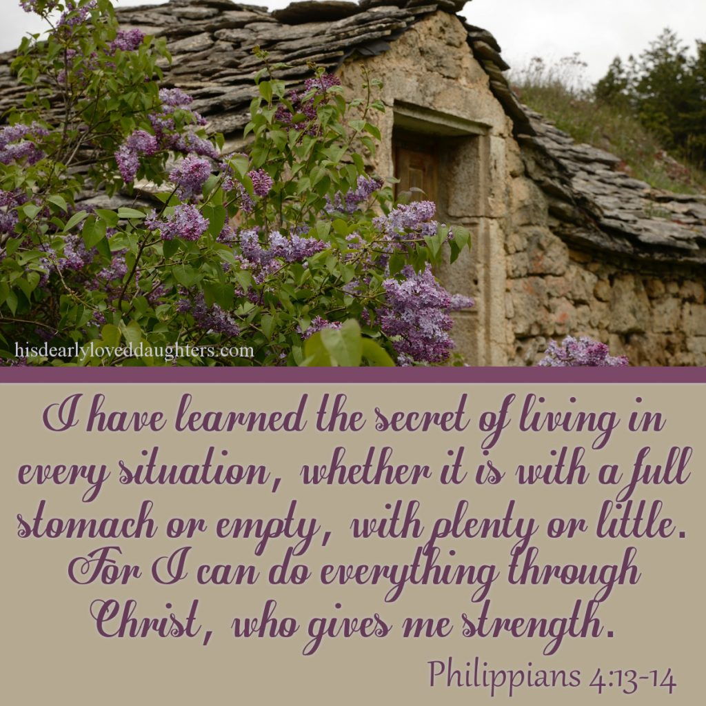I have learned the secret of living in every situation, whether it is with a full stomach or empty, with plenty or little. For I can do everything through Christ, who gives me strength. Philippians 4:13-14 #HisDearlyLovedDaughter #HopeForToday #verseoftheday #BibleStudy #WordOfGod #truth #Scripture #verses #bible