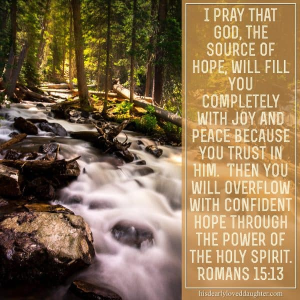 I pray that God, the source of hope, will fill you completely with joy and peace because you trust in Him. Then you will overflow with confident hope through the power of the Holy Spirit. Romans 15:13