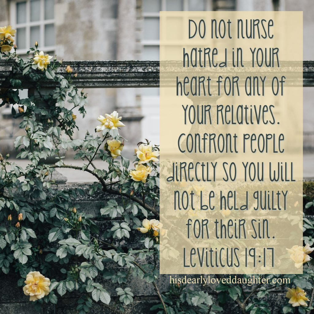 Do not nurse hatred in your heart for any of your relatives. Confront people directly so you will not be held guilty for their sin. Leviticus 19:17 #HisDearlyLovedDaughter #HopeForToday #verseoftheday #BibleStudy #WordOfGod #truth #Scripture #verses #bible