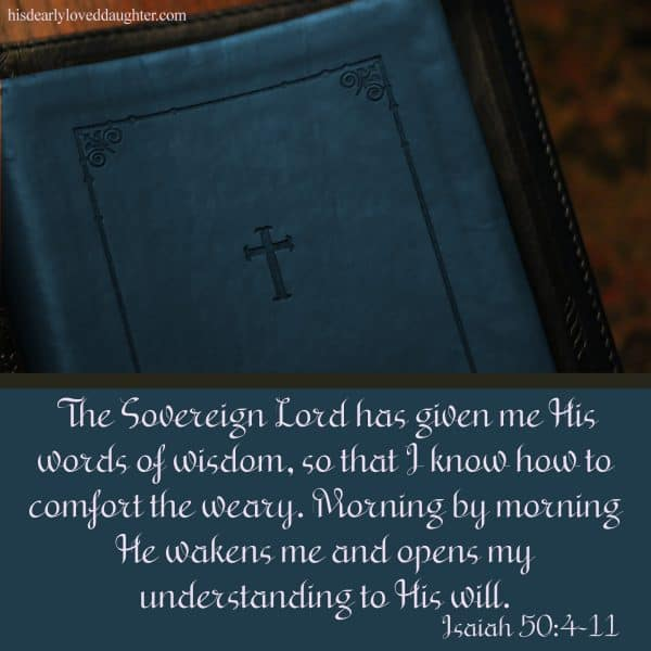 The Sovereign Lord has given me His words of wisdom, so that I know how to comfort the weary. Morning by morning He wakens me and opens my understanding to His will. Isaiah 50:4-11
