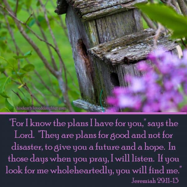 """""""For I know the plans I have for you,"""" says the Lord. """"They are plans for good and not for disaster, to give you a future and a hope. In those days when you pray, I will listen. If you look for me wholeheartedly, you will find me."""" Jeremiah 29:11-13"""