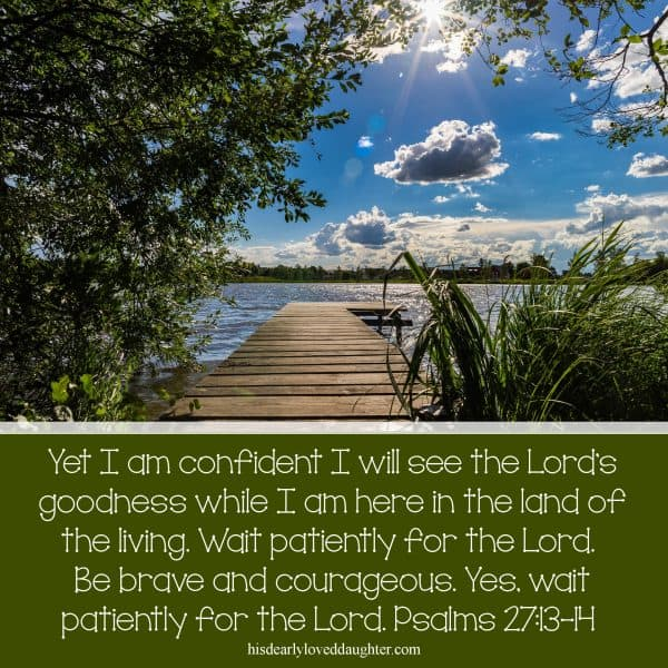 Yet I am confident I will see the Lord's goodness while I am here in the land of the living. Wait patiently for the Lord. Be brave and courageous. Yes, wait patiently for the Lord. Psalms 27:13-14