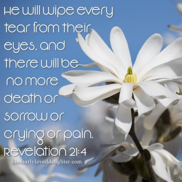 He will wipe every tear from their eyes, and there will be no more death or sorrow or crying or pain. Revelation 21:4