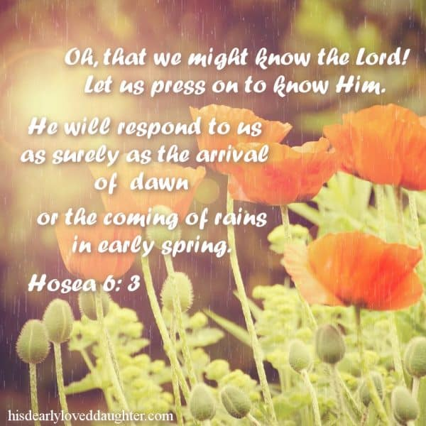 Oh, that we might know the Lord! Let us press on to know Him. He will respond to us as surely as the arrival of dawn or the coming of rains in early spring. Hosea 6:3
