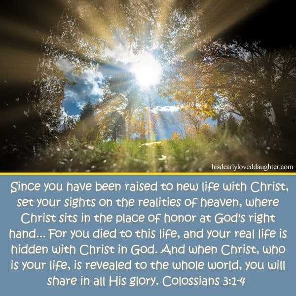 Since you have been raised to new life with Christ, set your sights on the realities of heaven, where Christ sits in the place of honor at God's right hand... For you died to this life, and your real life is hidden with Christ in God. And when Christ, who is your life, is revealed to the whole world, you will share in all His glory. Colossians 3:1-4