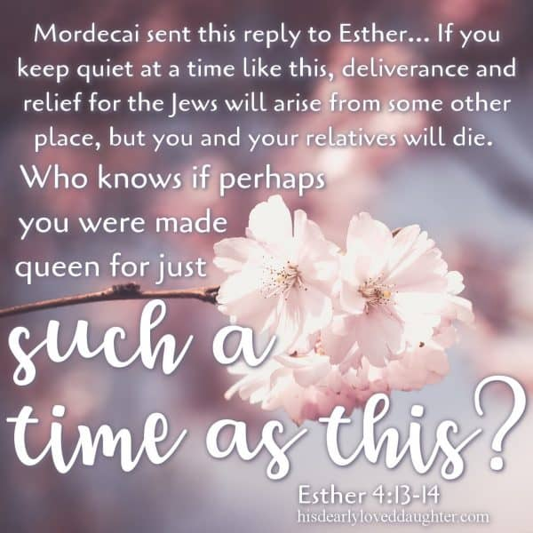"Mordecai sent this reply to Esther: ""Don't think for a moment that because you're in the palace you will escape when all other Jews are killed. If you keep quiet at a time like this, deliverance and relief for the Jews will arise from some other place, but you and your relatives will die. Who knows if perhaps you were made queen for just such a time as this? Esther 4:13-14"