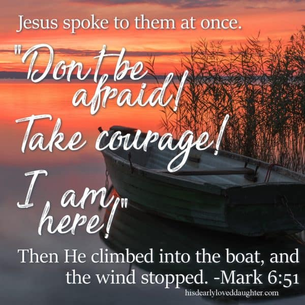 "Jesus spoke to them at once. ""Don't be afraid,"" He said. ""Take courage! I am here!"" Then He climbed into the boat, and the wind stopped. Mark 6:51"