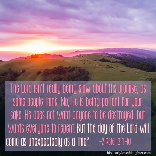 The Lord isn't really being slow about His promises, as some people think. No, He is being patient for your sake. He does not want anyone to be destroyed, but wants everyone to repent. But the day of the Lord WILL COME as unexpectedly as a thief. 2 Peter 3:9-10