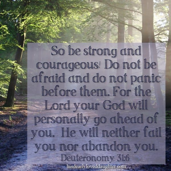 So be strong and courageous! Do not be afraid and do not panic before them. For the Lord your God will personally go ahead of you. He will neither fail you nor abandon you. Deuteronomy 31:6