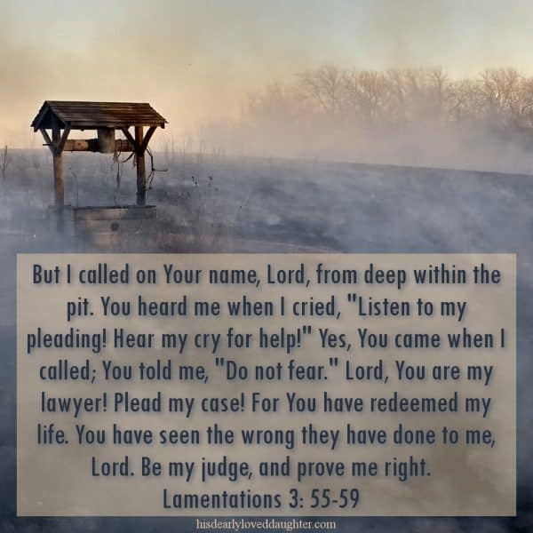 "But I called on Your name, Lord, from deep within the pit. You heard me when I cried, ""listen to my pleading! Hear my cry for help!"" Yes, You came when I called; You told me, ""Do not fear."" Lord, You are my lawyer! Plead my case! For You have redeemed my life. You have seen the wrong they have done to me, Lord. Be my judge, and prove me right. Lamentations 3:55-59"