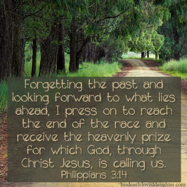 Forgetting the past and looking forward to what lies ahead, I press on to reach the end of the race and receive the heavenly prize for which God, through Christ Jesus, is calling us. Philippians 3:14
