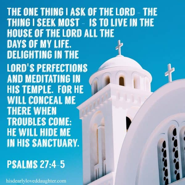 The one thing I ask of the Lord - the thing I seek most - is to live in the house of the Lord all the days of my life. Delighting in the Lord's perfections and meditating in His temple. For He will conceal me there when troubles come; He will hide me in His sanctuary. Psalms 27:4-5
