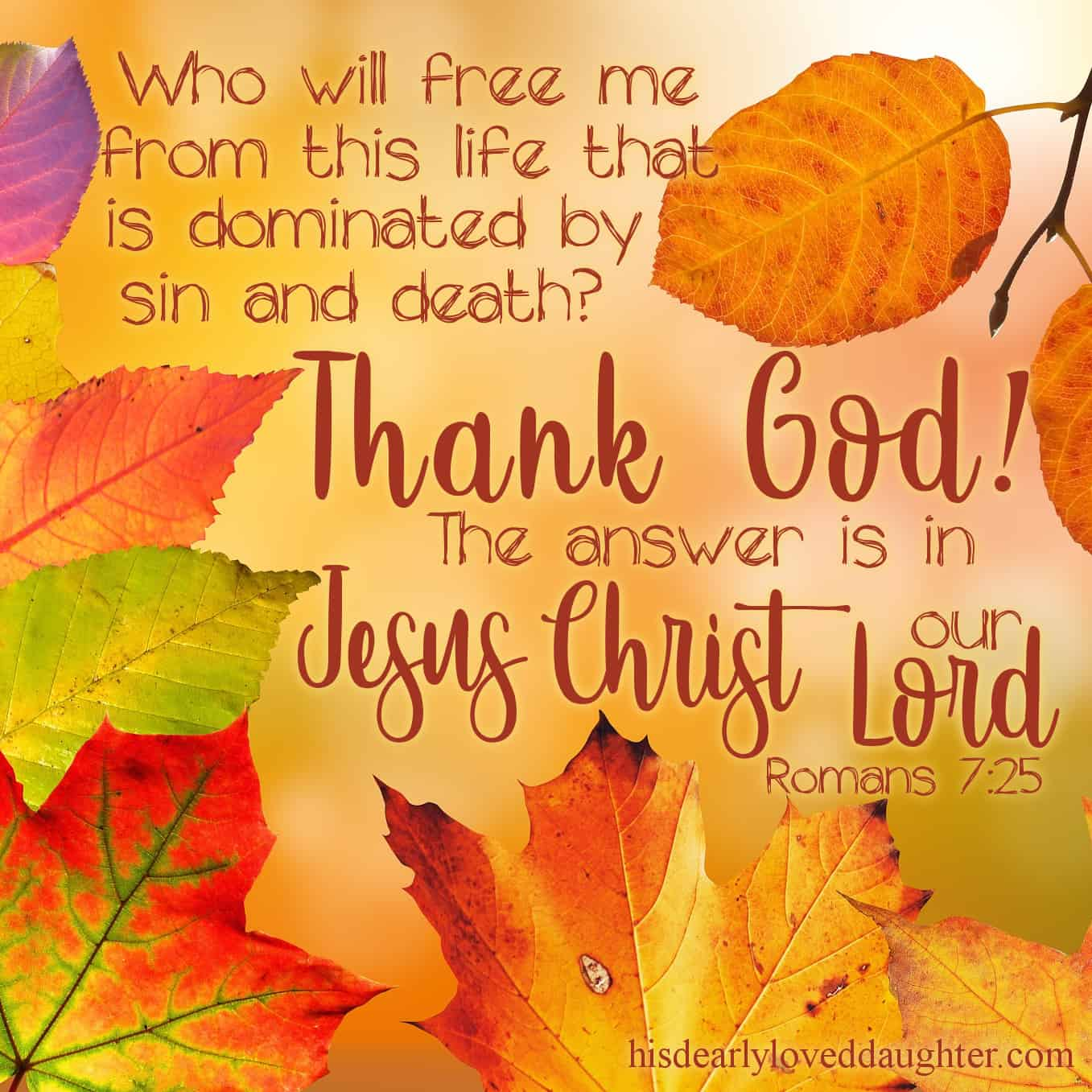 Who will free me from this life that is dominated by sin and death? Thank GOD! The answer is in Jesus Christ our Lord. Romans 7:25