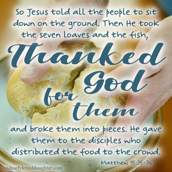 So Jesus told all the people to sit down on the ground. Then He took the seven loaves and the fish, thanked God for them, and broke them into pieces. He gave them to the disciples, who distributed the food to the crowd. Matthew 15:35-36
