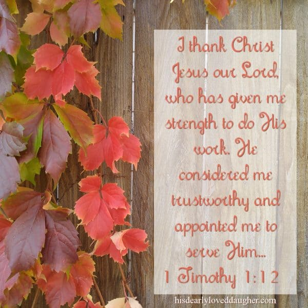 I thank Christ Jesus our Lord, who has given me strength to do His work. He considered me trustworthy and appointed me to serve Him... 1 Timothy 1:12