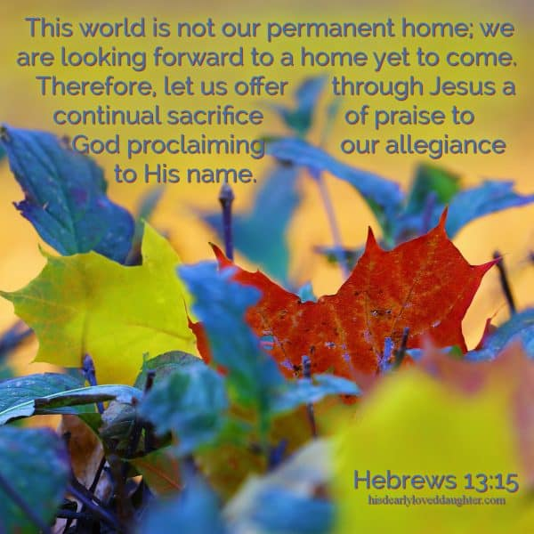 This world is not our permanent home; we are looking forward to a home yet to come. Therefore, let us offer through Jesus a continual sacrifice of praise to God, proclaiming our allegiance to His name. Hebrews 13:15