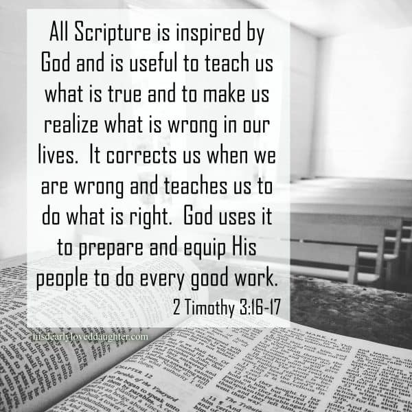 All Scripture is inspired by God and is useful to teach us what is true and to make us realize what is wrong in our lives.  It corrects us when we are wrong and teaches us to do what is right.  God uses it to prepare and equip His people to do every good work. 2 Timothy 3:16-17