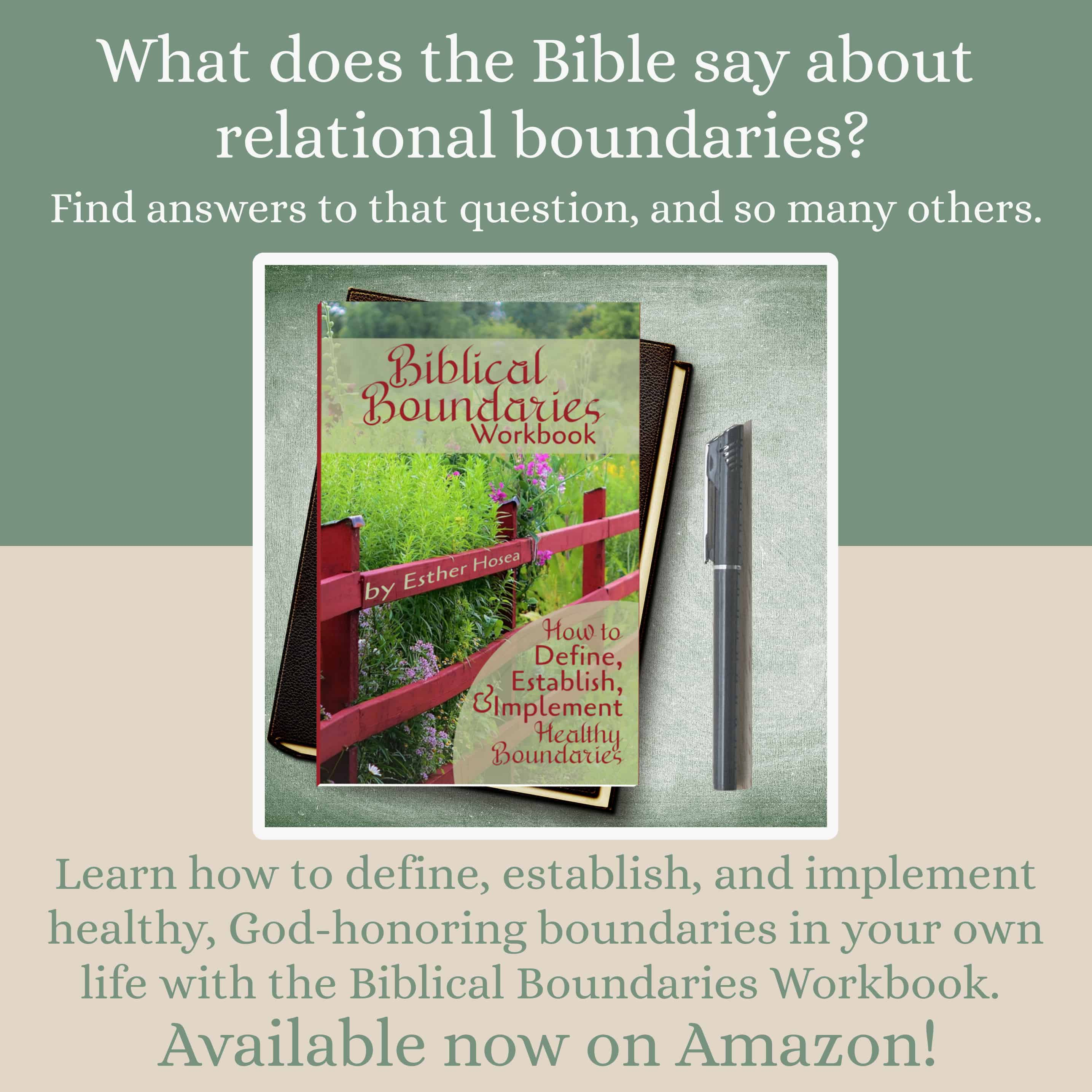 What does the Bible say about relational boundaries? Find answers to that question and many others. Learn how to define, establish, and implement healthy, God-honoring boundaries in your own life with the Biblical Boundaries Workbook. Available now on Amazon!