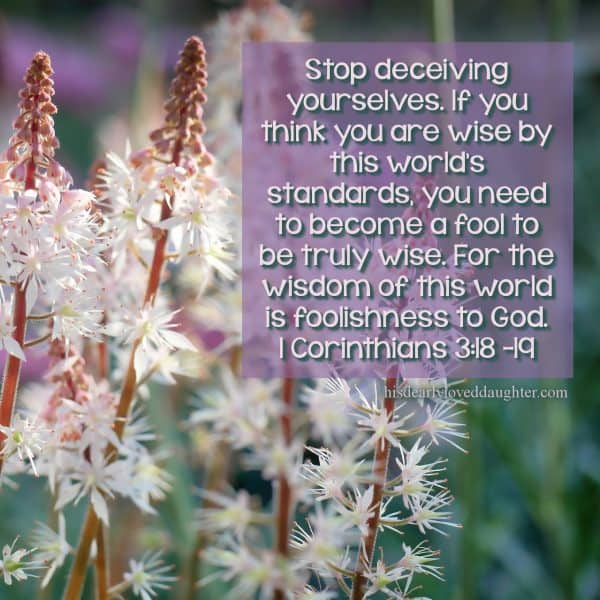 Stop deceiving yourselves. If you think you are wise by this world's standards, you need to become a fool to be truly wise. For the wisdom of this world is foolishness to God. 1 Corinthians 3:18 -19
