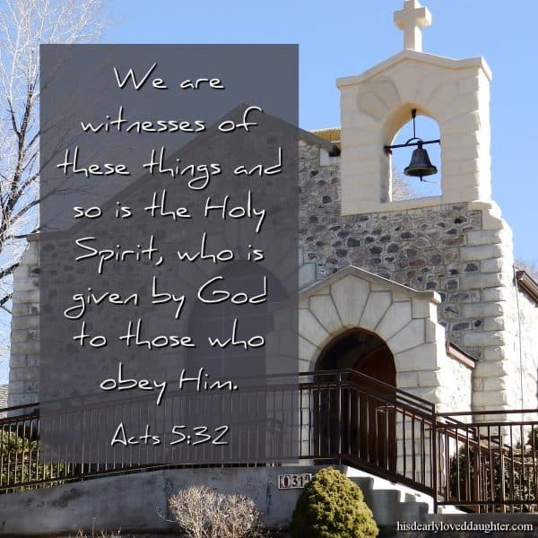 We are witnesses of these things and so is the Holy Spirit, who is given by God to those who obey Him. Acts 5:32