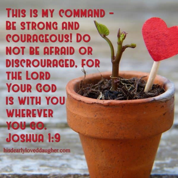 "This is my command – be strong and courageous! Do not be afraid or discouraged. For the Lord your God is with you wherever you go.""  Joshua 1:9"