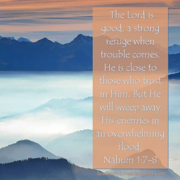 The Lord is good, a strong refuge when trouble comes. He is close to those who trust in Him. But He will sweep away His enemies in an overwhelming flood. Nahum 1:7-8