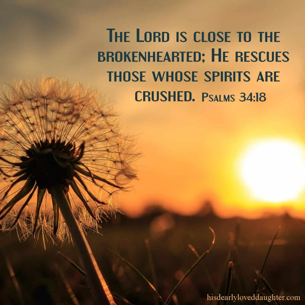The Lord is close to the brokenhearted; He rescues those whose spirits are crushed. Psalms 34:18