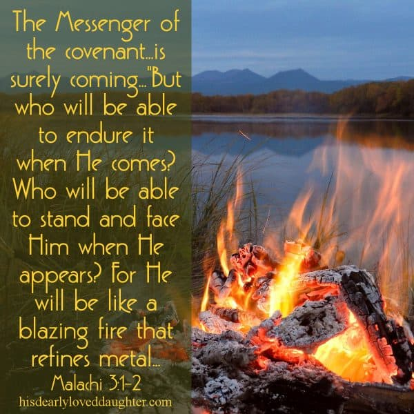 """The Messenger of the covenant...is surely coming...""""But who will be able to endure it when He comes? Who will be able to stand and face Him when He appears? For He will be like a blazing fire that refines metal...Malachi 3:1-2"""