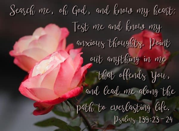Psalms 139:23-24 - Search me, O God, and know my heart; test me and know my anxious thoughts. Point out anything in me that offends You and lead me along the path to everlasting life.