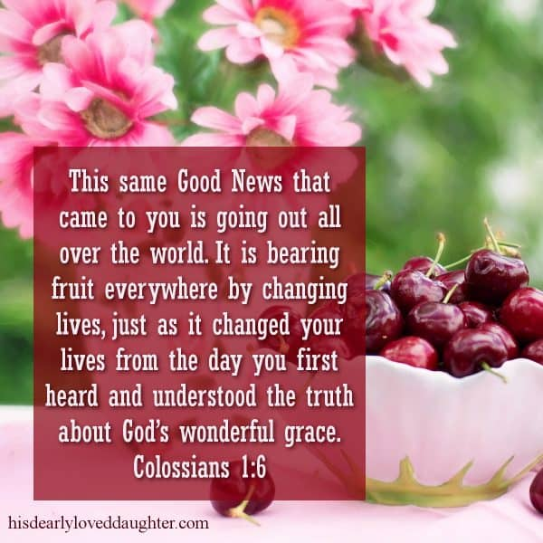 This same Good News that came to you is going out all over the world. It is bearing fruit everywhere by changing lives, just as it changed your lives from the day you first heard and understood the truth about God's wonderful grace. Colossians 1:6