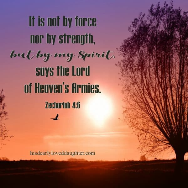 It is not by force nor by strength, but by my Spirit, says the Lord of Heaven's Armies. Zechariah 4:6