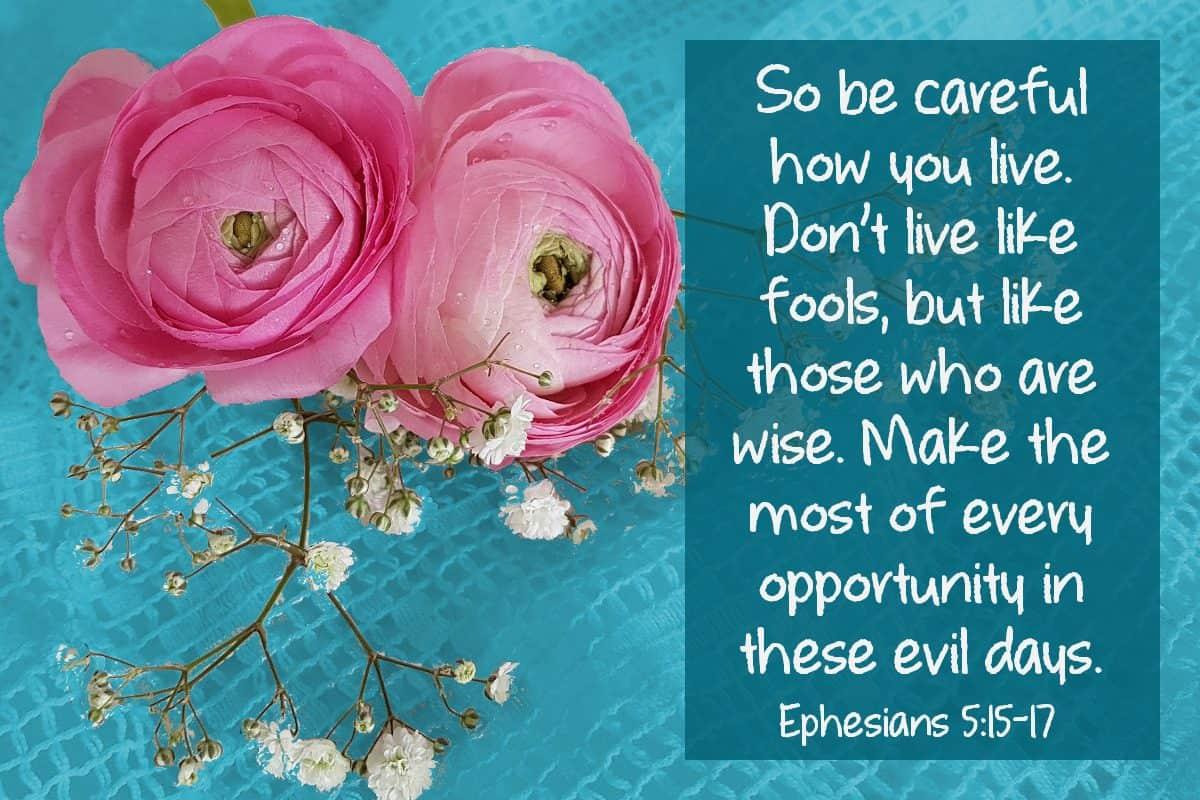 So be careful how you live. Don't live like fools, but like those who are wise. Make the most of every opportunity in these evil days. Ephesians 5:15- 17