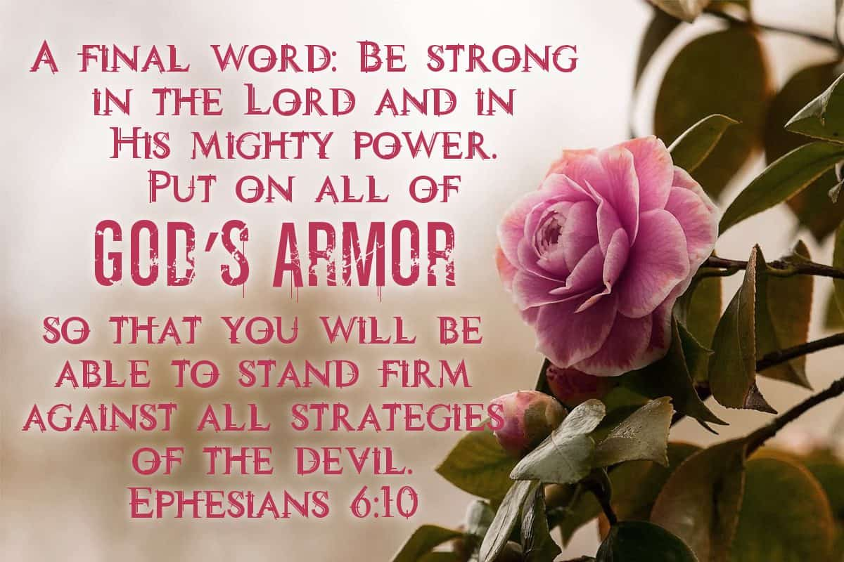 A final word: Be strong in the Lord and in His mighty power. Put on all of God's armor so that you will be able to stand firm against all strategies of the devil. Ephesians 6:10