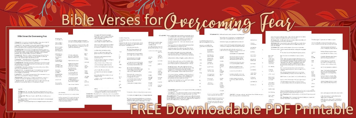 Bible Verses for Overcoming Fear Free Downloadable PDF Printable