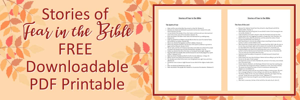 Stories of Fear in the Bible Downloadable PDF Printable
