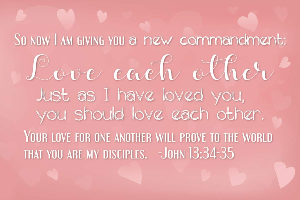 So now I am giving you a new commandment: Love each other. Just as I have loved you, you should love each other. Your love for one another will prove to the world that you are my disciples. John 13:34-35