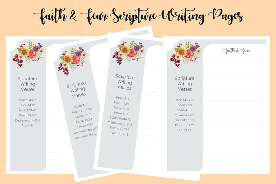 Faith and Fear Scripture Writing Pages