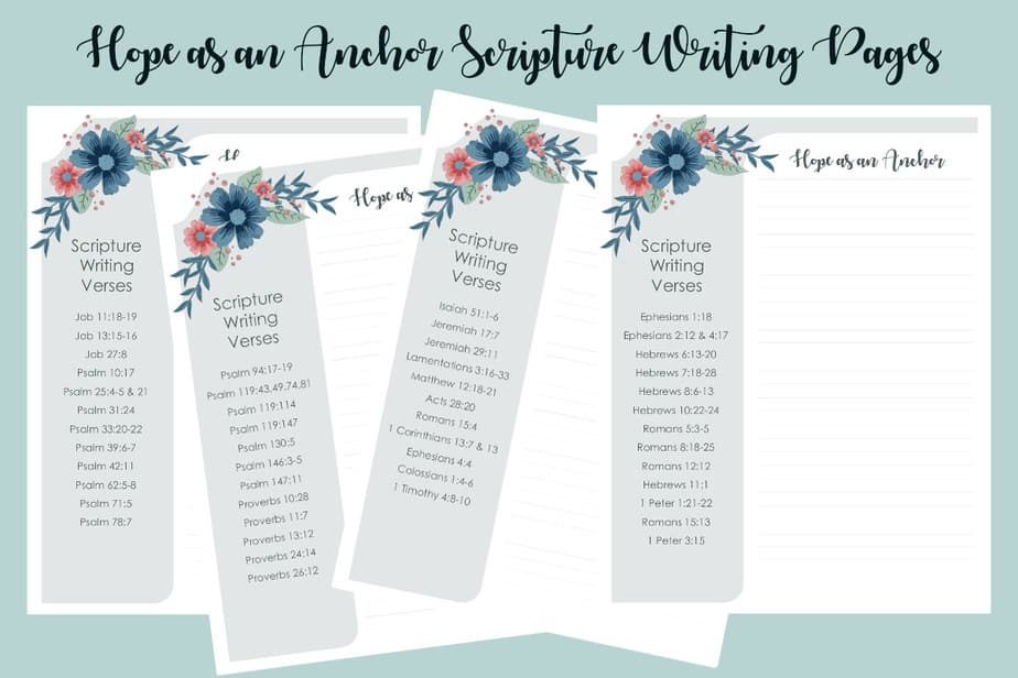 Hope as an Anchor Scripture Writing Pages